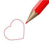 Röd blyertspenna och röd hjärta. Vektorillustration Vektor Illustrationer
