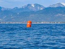 Röd boj för regatta Arkivfoto