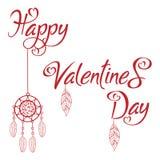 Röd bokstäver för lycklig för valentin` s skrift för dag med den dröm- stopparen i vit bakgrund royaltyfri illustrationer