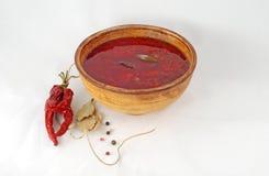 Röd borsch med fröskidor varm peppar och lagerblad Royaltyfri Foto