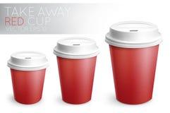 Röd bort pappers- kopp för tagande Royaltyfria Bilder