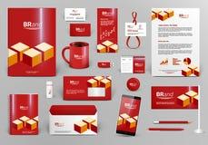 Röd brännmärka designsats med tegelstenar Royaltyfri Foto