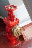 Röd brandpost med en bronsräkning Fotografering för Bildbyråer