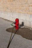 Röd brandpost som är i bruk Arkivfoto