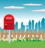 Röd brevlåda Arkivbild