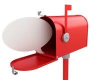 Röd brevlåda med den blanka anförandebubblan. Arkivbild