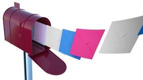Röd brevlåda med poster Royaltyfria Bilder