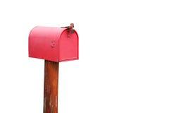 Röd brevlåda på vit bakgrund Royaltyfri Bild