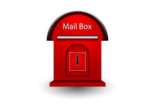 Röd brevlåda på vit bakgrund med skugga Arkivbild
