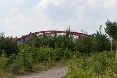 Röd bro bak buskar fotografering för bildbyråer