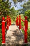 Röd bro. Irländsk nationell dubbs japanska trädgårdar.  Kildare. Irland Royaltyfri Fotografi