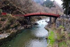 Röd bro på Nara Royaltyfria Bilder