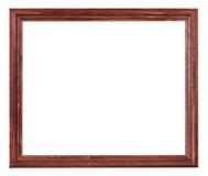 Röd brunt målad smal träbildram royaltyfri fotografi