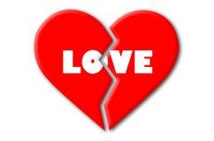 Röd bruten hjärta med vit förälskelse på isolerad vit bakgrund Arkivfoton