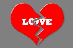 Röd bruten hjärta med vit förälskelse på isolerade Grey Background Royaltyfri Bild