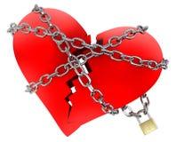 Röd bruten hjärta som slås in i kedja Royaltyfri Foto