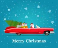 Röd cabriolet för tappning med Santa Claus, julträdet och gåvaaskar royaltyfri illustrationer