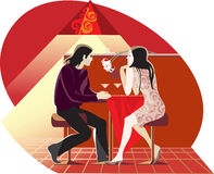 Röd cafe Arkivbilder