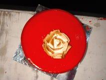 Röd cake royaltyfri fotografi