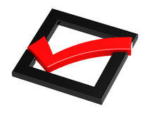Röd checkmark med den svarta fyrkanten Arkivfoto