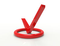 Röd checkmarksymbol Vektor Illustrationer