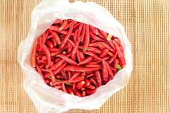 Röd chili i plastpåse Fotografering för Bildbyråer