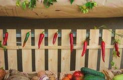 Röd chili och grönsaker i marknaden arkivfoto