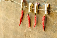 Röd chili på tabellen arkivfoton