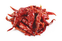 Röd chili på vit Arkivfoto