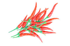 Röd chili som isoleras på på vit Fotografering för Bildbyråer
