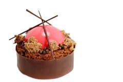 Röd chokladefterrätt med chokladkaviaren royaltyfri bild