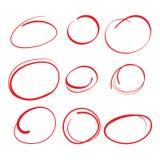 Röd cirkel som graderar fläckar med Swooshkänsel - markera upp legitimationshandlingar stock illustrationer