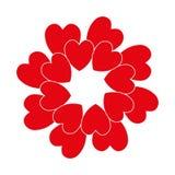 Röd cirkelhjärta Arkivbild