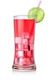 Röd coctail i ett stort exponeringsglas Royaltyfri Fotografi