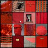 Röd collage Fotografering för Bildbyråer