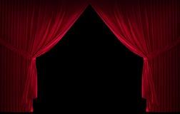 Röd courtain för sammet Arkivfoto