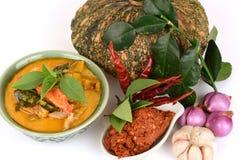 Röd curry med griskött och pumpa och ingrediens: Pumpa grisköttskiva, chilideg, Basilika thailändsk basilika, citronblad, Kaffirl royaltyfri foto