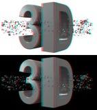 Röd-Cyan begrepp för Anaglyph 3d royaltyfri illustrationer