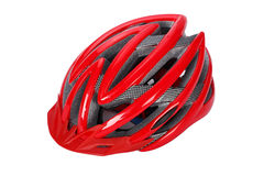 Röd cykelhjälm Royaltyfri Foto