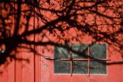 Röd dörr med skugga Royaltyfri Bild