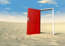 Röd dörr som är öppen i en öken Royaltyfri Bild