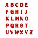 Röd 3d märker alfabetet som märker Design av röd abc för typografi, vektorillustration Royaltyfri Foto