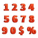Röd 3d numrerar vektortecken Royaltyfria Foton