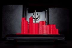 Röd 3D utskrivaven stad arkivbilder