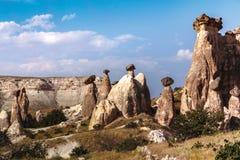 Röd dal på Cappadocia, Anatolien, Turkiet Vulkaniska berg in Arkivbilder