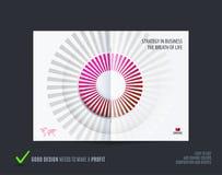 Röd design för abstrakt broschyr, modern katalog, mittuppslagräkning, reklamblad i A4 med färgglade strålar stock illustrationer