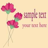 Röd design för blommakortmodell Royaltyfri Foto