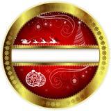 Röd design för jul med en guld- gräns vektor illustrationer