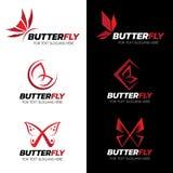Röd design för konst för uppsättning för fjärilslogovektor Royaltyfri Foto