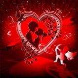 Röd design med en hjärta Royaltyfri Foto